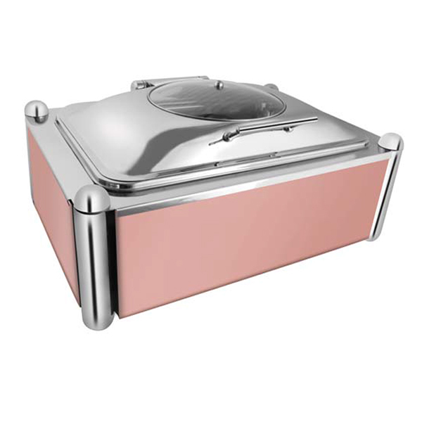Rectangular Glass Chafer W-Rose Gold Pillar Stand