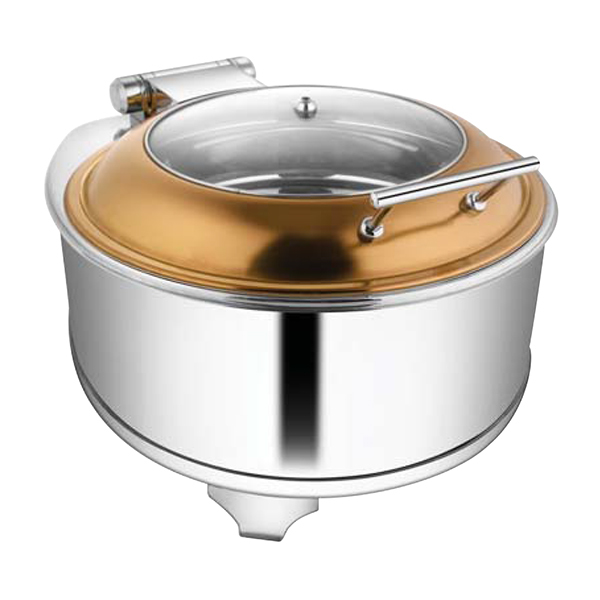 Round Rose Gold Glass LID Chafer W-Fuel Frame