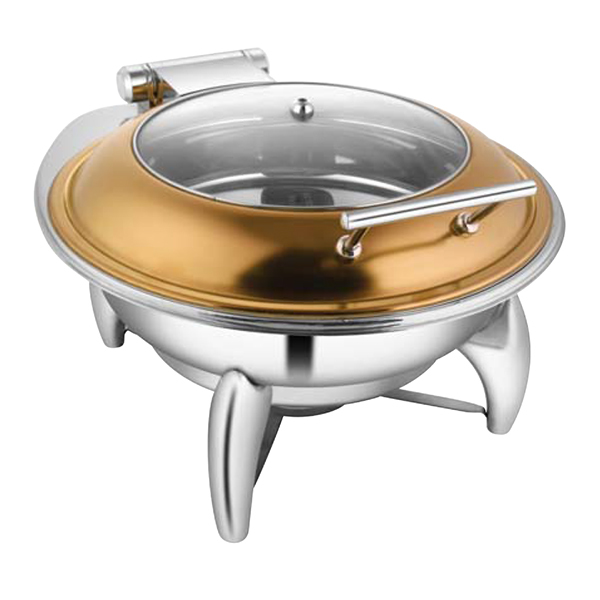 Round Rose Gold Glass LID Chafer W-Smart Legs