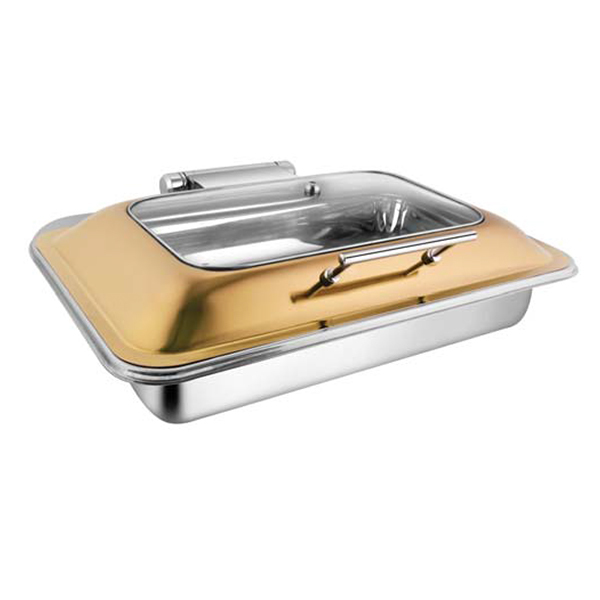 Rectangular Rose Gold Rect Glass Chafer