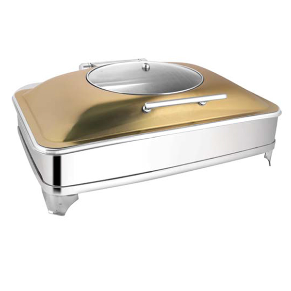 Rectangular Rose Gold Glass LID Chafer W-E E & Frame