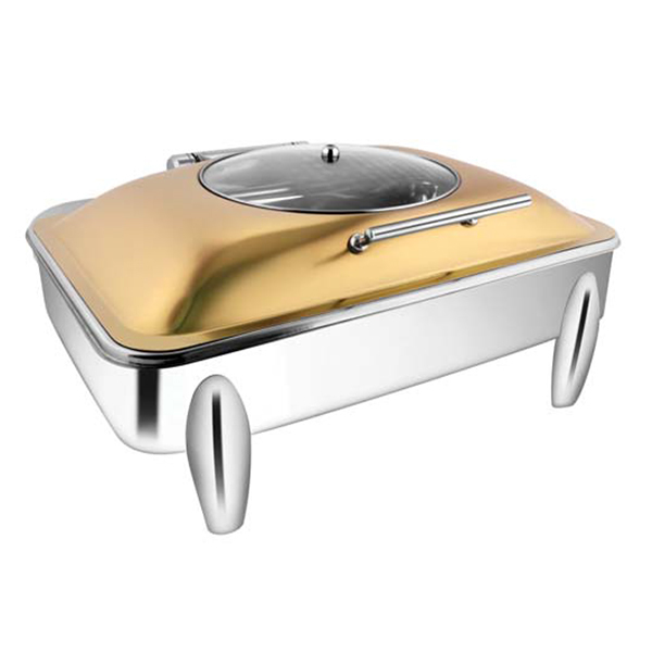 Rectangular Rose Gold Glass LID Chafer W-Curved Legs