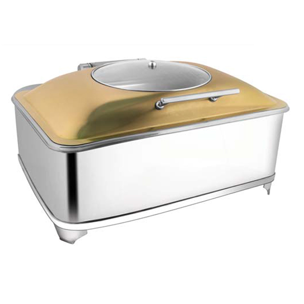 Rectangular Rose Gold Glass LID Chafer W-Fuel Frame