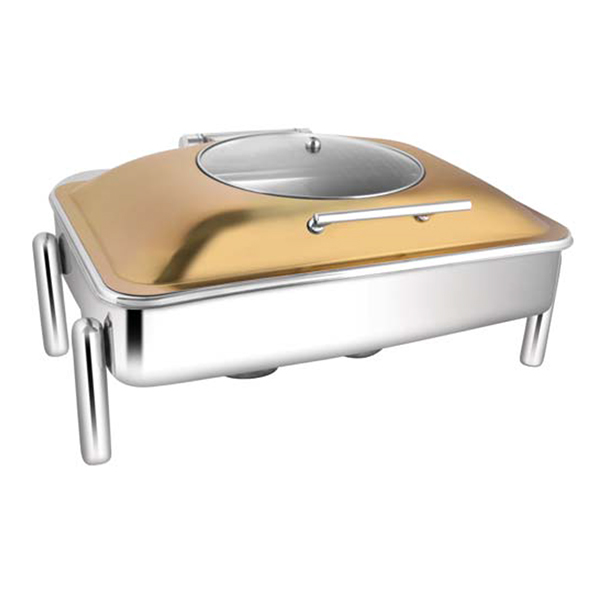 Rectangular Rose Gold Glass LID Chafer W-Pipe Legs
