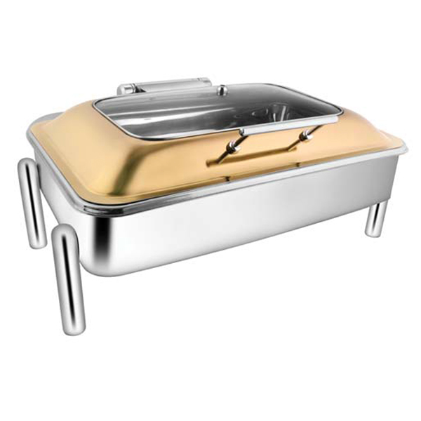 Rectangular Rose Gold Rect Glass Chafer W-Pipe Legs