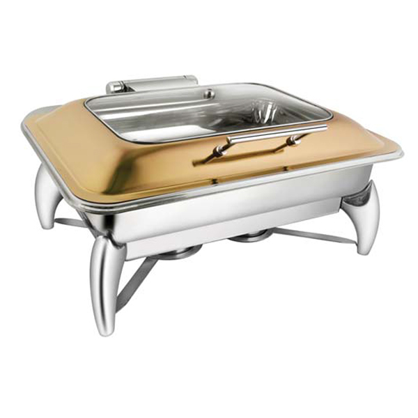 Rectangular Rose Gold Rect Glass LID Chafer W-Smart Legs