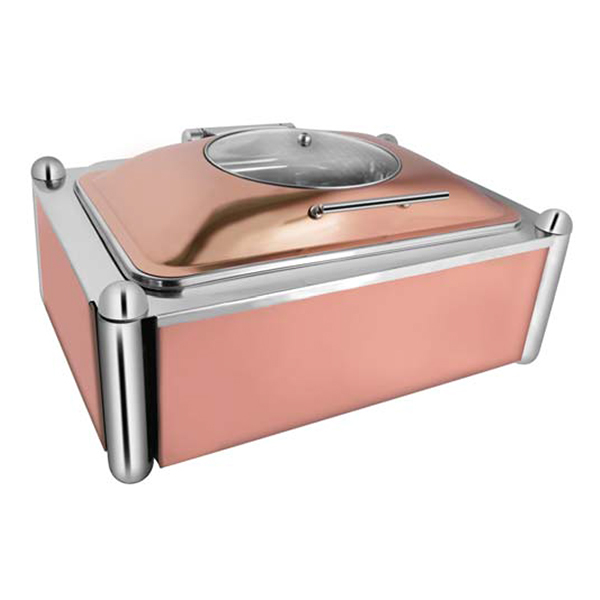 Rectangular Rose Gold Glass Chafer W-Rose Gold Pillar Stand