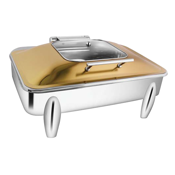 Rectangular Rose Gold SQ Glass Chafer W-Curved Legs