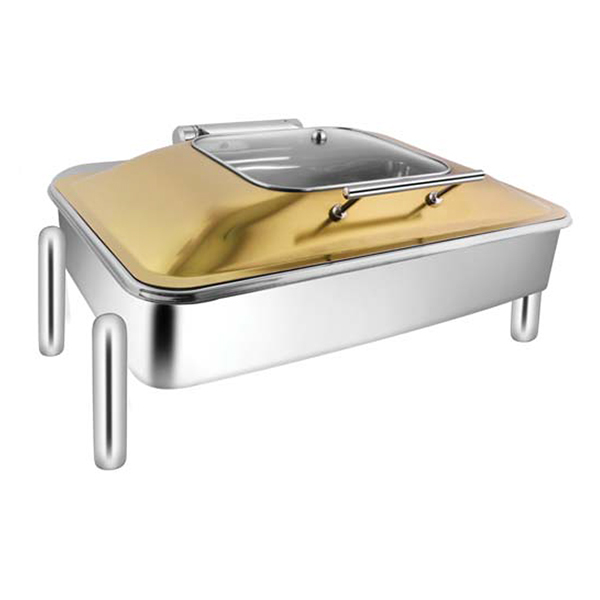 Rectangular Rose Gold SQ Glass Chafer W-Pipe Legs