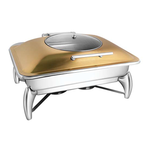Rectangular Rose Gold Glass LID Chafer W-Smart Legs