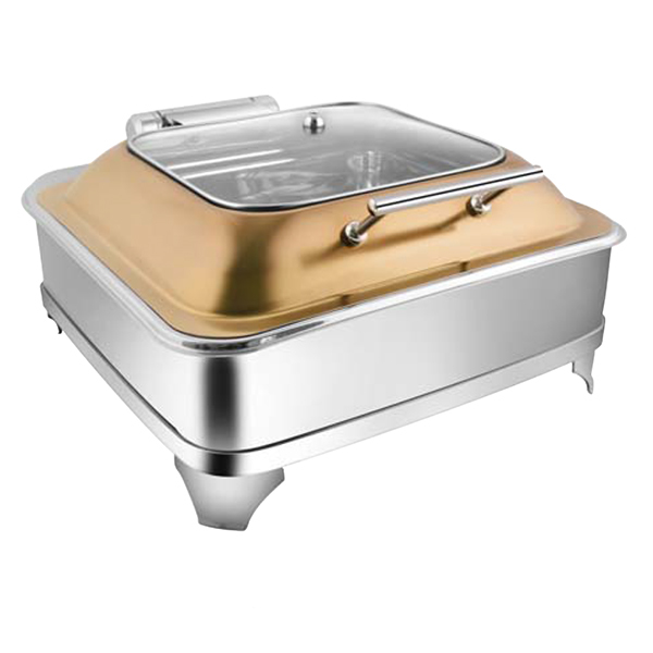Square Rose Gold SQ Glass LID Chafer