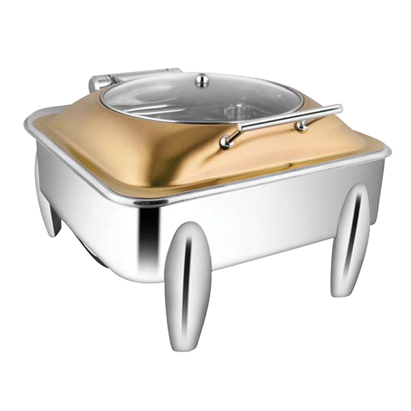 Square Rose Gold Glass LID Chafer W-Curved Legs