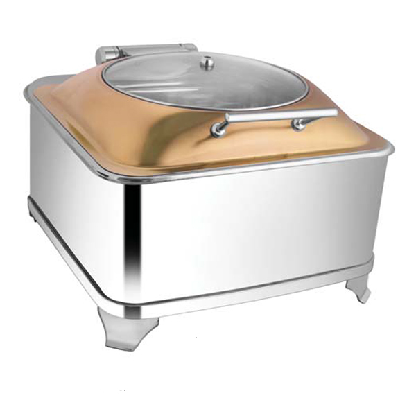 Square Rose Gold Glass LID Chafer W-Fuel Frame