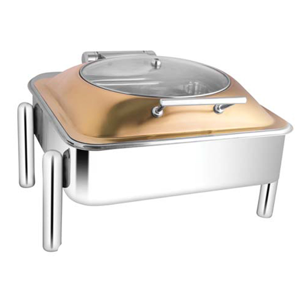 Square Rose Gold Glass LID Chafer W-Pipe Legs