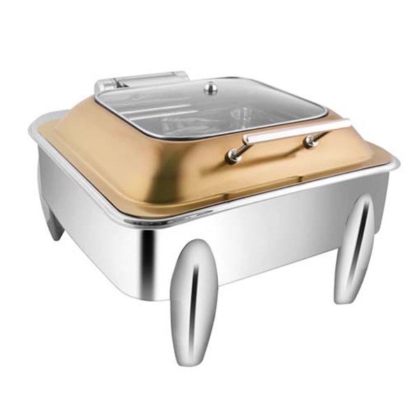 Square Rose Gold SQ Glass LID Chafer W-Curved Legs