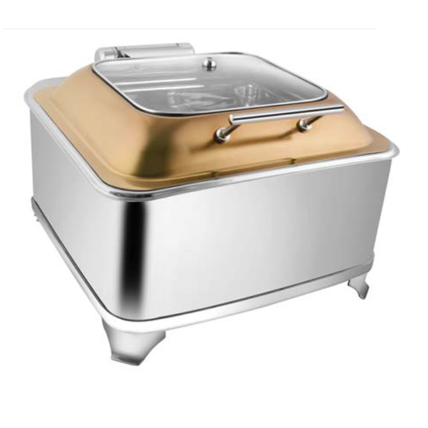 Square Rose Gold SQ Glass LID Chafer W-Fuel Frame