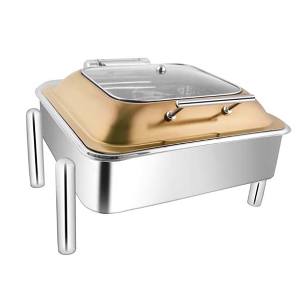 Square Rose Gold SQ Glass LID Chafer W-Pipe Legs
