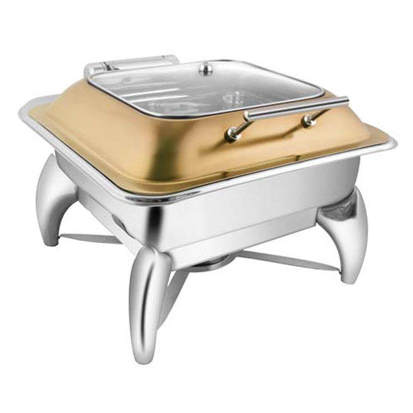 Square Rose Gold SQ Glass LID Chafer W-Smart Legs
