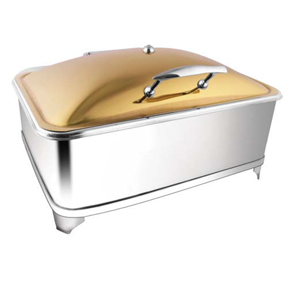 Rectangular Rose Gold Chafer W-Fuel Frame