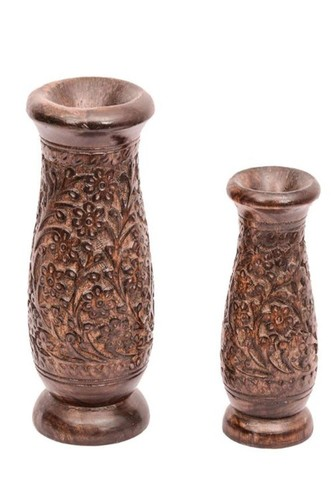 Desi Karigar Flowery Patterned Wooden Flower Vases