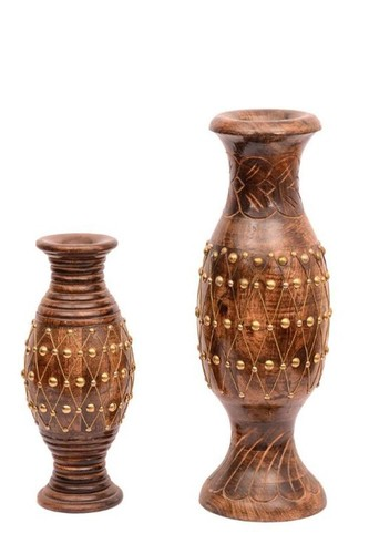 Desi Karigar Hand Crafted Amphora Wooden Golden Patterned Flower Vases