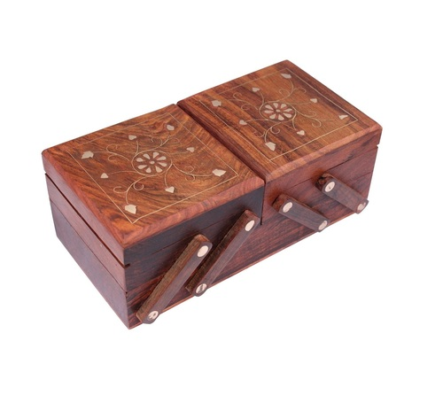 Desi Karigar Jewellery Box for Women Wooden Flip Flap Handmade Gift, 8 Inches