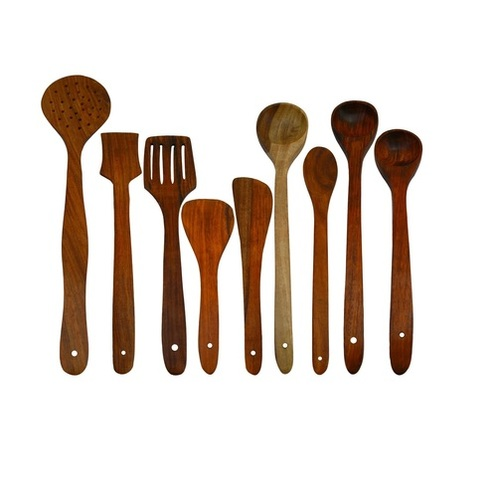 Desi Karigar Handmade Wooden Serving and Cooking Spoon Kitchen Utensil Set of 9