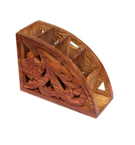 Desi Karigar Wooden Remote Control Storage Holder Stand Organizer Rack