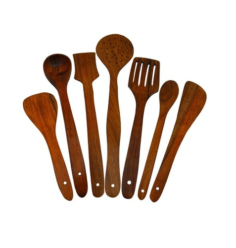 Desi Karigar Handmade Wooden Serving and Cooking Spoon Kitchen Utensil Set of 7