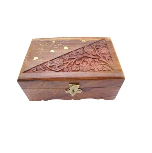 Desi Karigar Wooden Jewellery Box Handicrafted Flower Carving Gift, 6 Inches