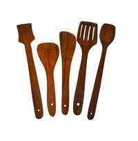 Desi Karigar Handmade Wooden Serving and Cooking Spoon Kitchen Utensil Set of 5
