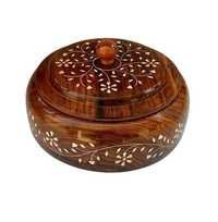 Desi Karigar Handcrafted Wooden Spice Box with Lid 4 Compartments