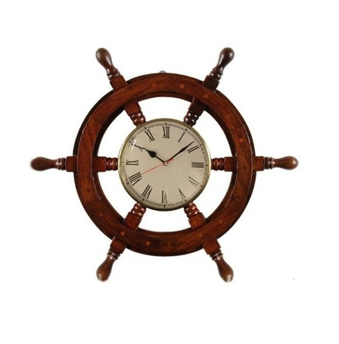Desi Karigar Vintage ship stering wheel shaped wooden wall clock