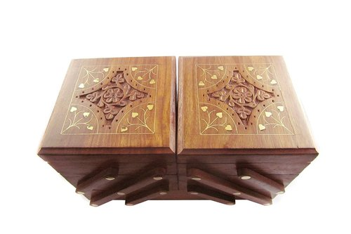 Desi Karigar Beautifully top carved with brass work wooden 3 stories foldable jewellery box