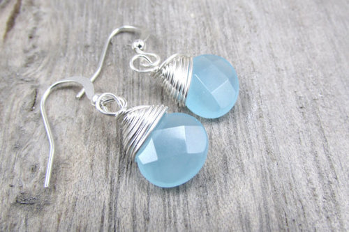 Aqua Chalcedony Silver Earring