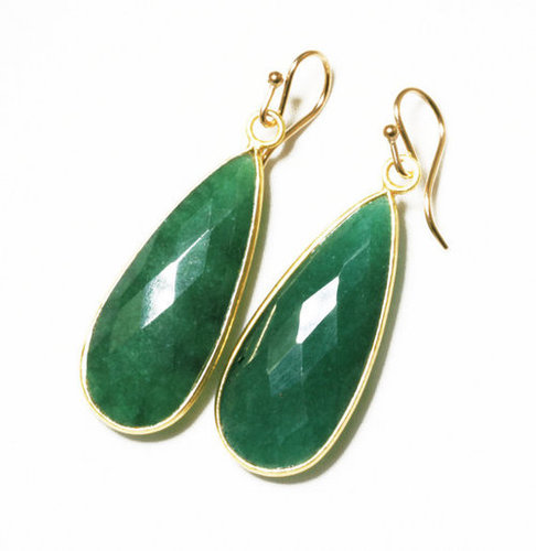Gold Plated Dyed Emerald Earring