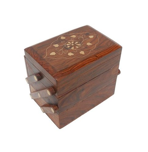 Desi Karigar Wooden Small Jewellery Box With Brass Inlay Work Design