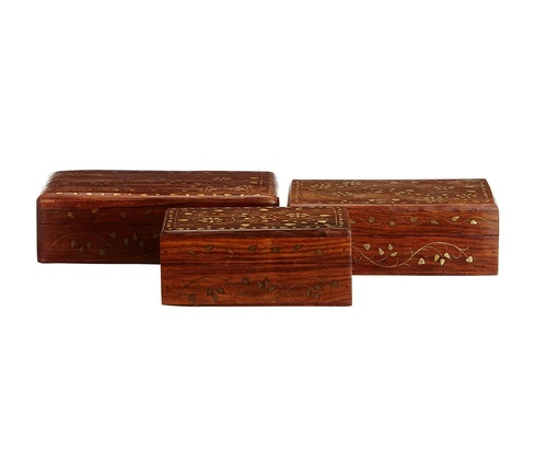 Desi Karigar Traditional & beautiful set of 3 wooden jewellery box with brass work