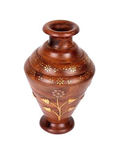 Desi Karigar Handmade Wooden Flower Vase With Brass Carving For Home Decor