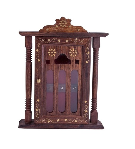 Desi Karigar Brown Handmade Wall Decorative Wooden Key Holder / Stand / Cabinet