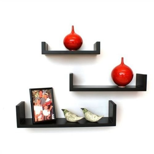 Desi Karigar Wall Shelf - Set of 3 'U' Shape MDF Wall Racks - Black
