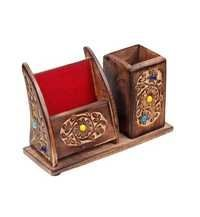 Desi Karigar Wooden Pen Mobile Stationery Stand for Home Office -wooden_mobile_pen_stand