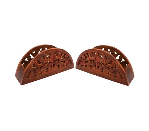 Desi Karigar Wooden Dinning Table Decorative Napkin, Tissue Holder Stand - Set of 2