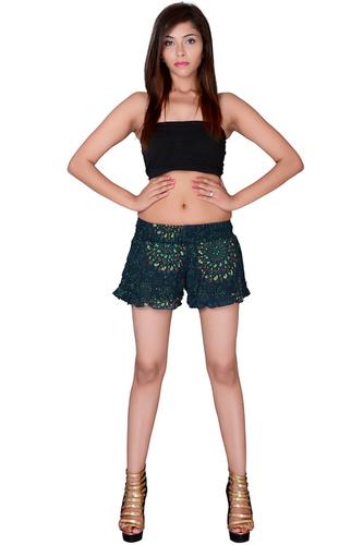 Beachwear Resort Wear Shorts Rayon Hand Block Mandala Print Green Color