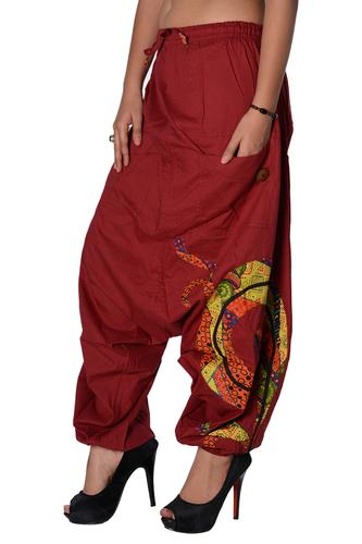 Cotton Women Solid Party Wear Maroon 2 Pockets Trouser