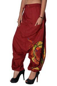 Cotton Women Solid Party Wear Maroon 2 Pockets Trouser