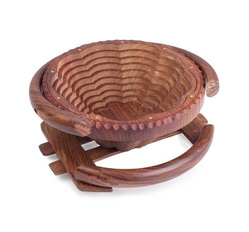 Desi Karigar Wooden Fruit Basket / Foldable Basket/Handcrafted For Dining Table