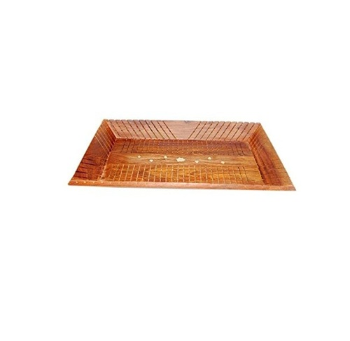 Desi Karigar Wooden Handcrafted Serving Tray In Rectangular Shape Made From Mango Wood