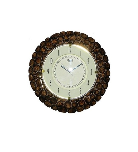 Desi Karigar Stylish Wooden Round Shape Hanging Wall Clock Antique Bamboo Finish - (Watch)