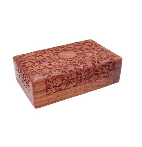 Desi Karigar Handmade Wooden Carved Jewellery Box for Women Jewel Organizer Flower
